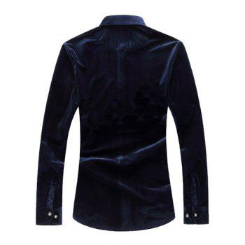 Long Sleeve Dragon Print Velvet Shirt - CADETBLUE L