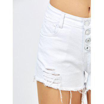 Frayed Button Up High Rise Shorts - WHITE M