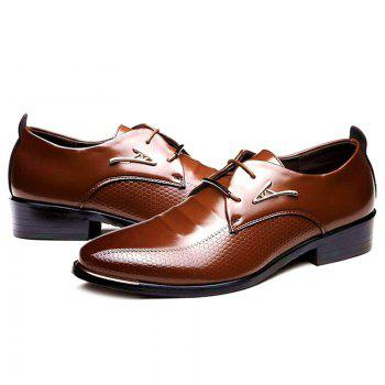 Faux Leather Tie Up Formal Shoes - BROWN 44