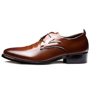 Faux Leather Tie Up Formal Shoes - BROWN 40