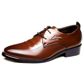 Faux Leather Tie Up Formal Shoes - BROWN 41