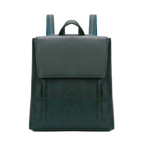 PU Leather Flap Backpack - BLACKISH GREEN