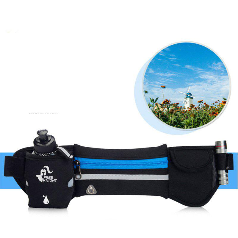 Freeknight Reflective Headphone Jack Waist Bag with One Water Bottle - BLUE