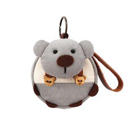 Key Détail Ring Purse Cartoon Ours Coin - Gris