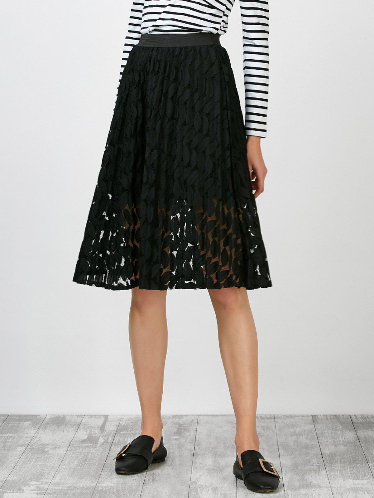 Leaf Lace High Waisted Skirt, BLACK, ONE SIZE in Skirts ...