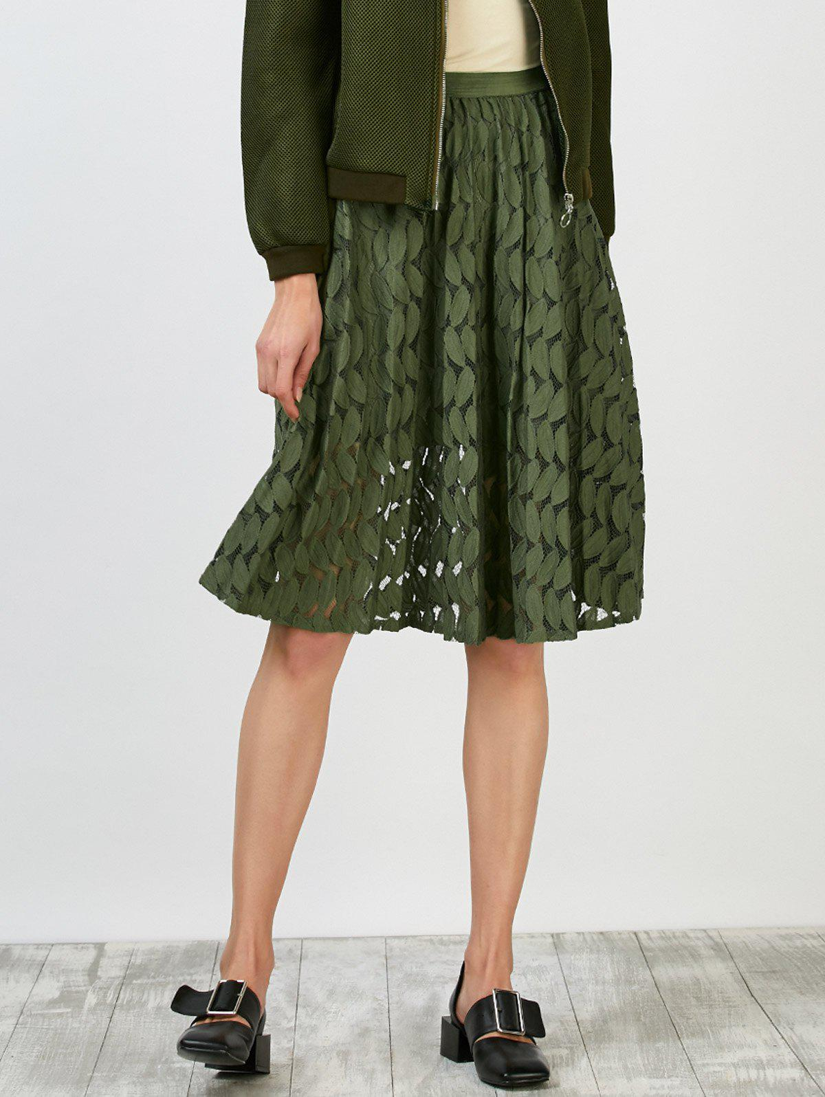 Leaf Lace High Waisted Skirt, ARMY GREEN, ONE SIZE in Skirts ...