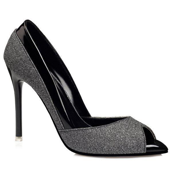 Mini Heel Glitter Peep Toe Shoes - BLACK 38
