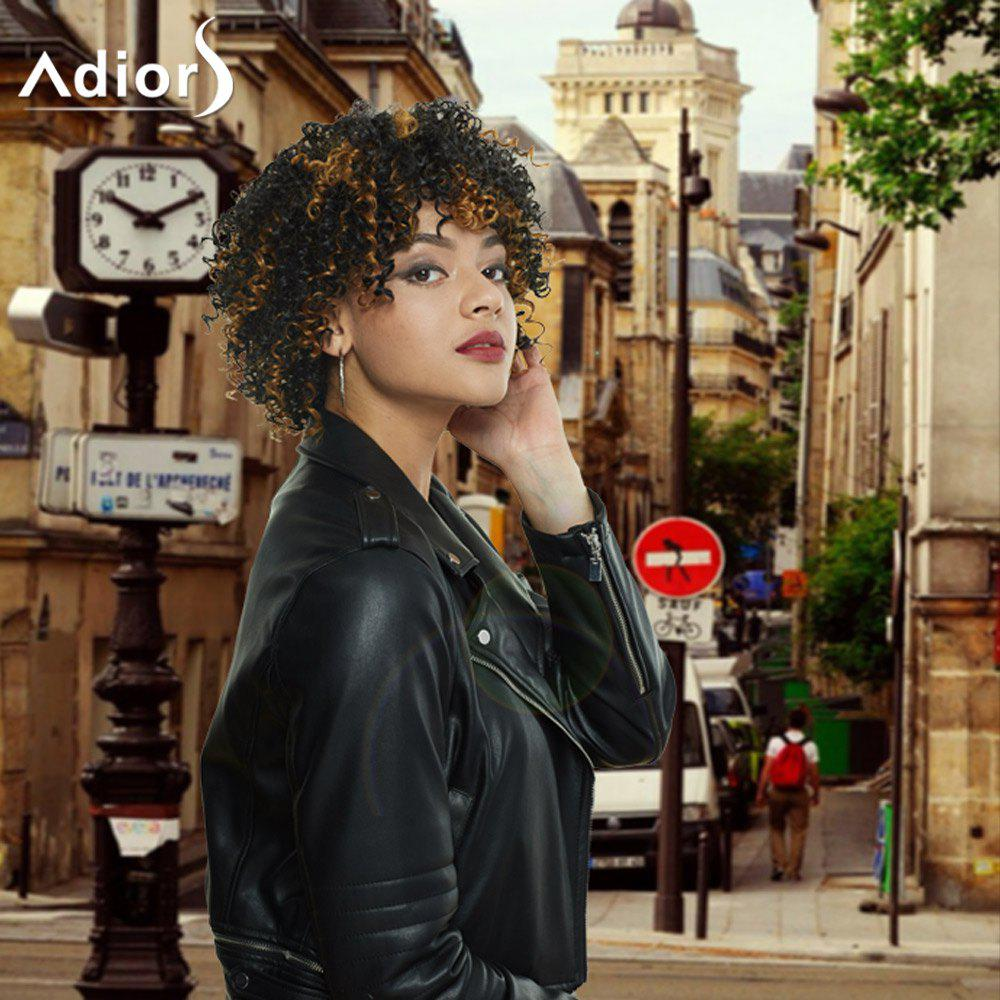Adiors Short Colormix Afro Curly Full Bang Synthetic Wig ковш с ручкой flonal black