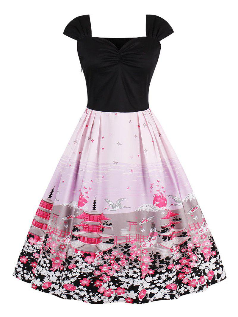 Vintage Floral Tower Print Pin Up Dress - PINK L