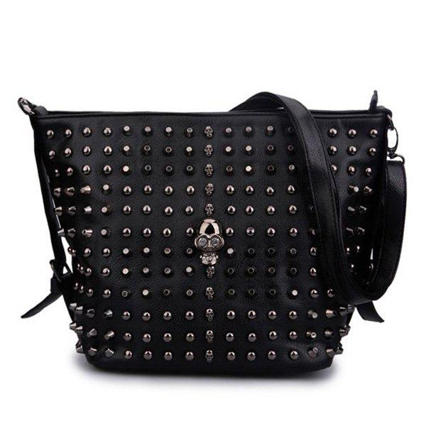 Skull and Rivets Detail Shoulder Bag - BLACK