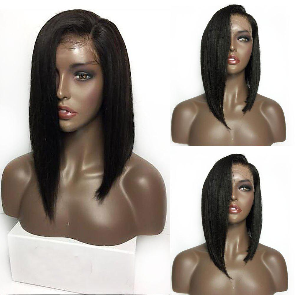 Medium Side Part Bob Straight Lace Front Synthetic Wig - BLACK