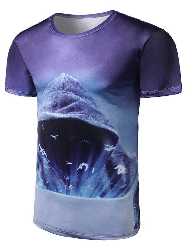Short Sleeve Mystery Man Print Tee - PURPLE 2XL