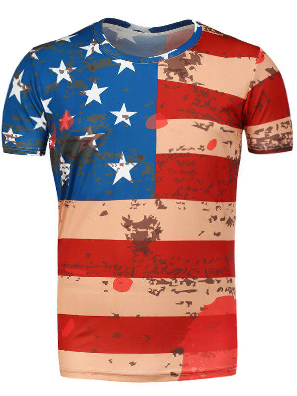 Short Sleeve Distressed American Flag Tee - RED M