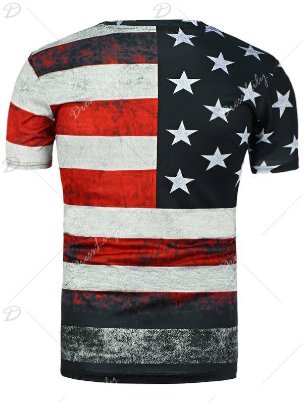 Round Neck Distressed American Flag Printed T-Shirt - BLACK XL