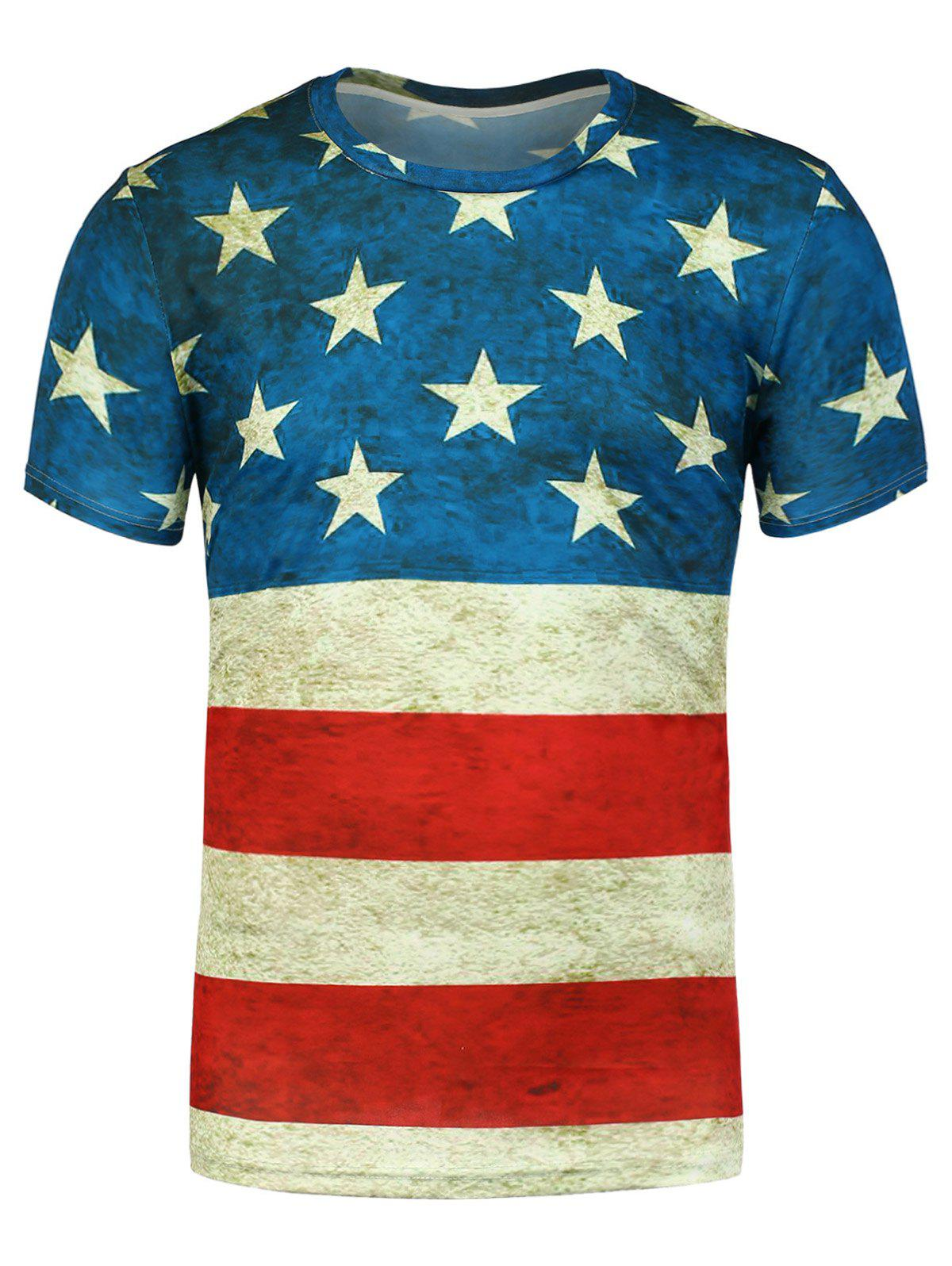 Short Sleeves Distressed American Flag Printed Tee - BLUE 2XL