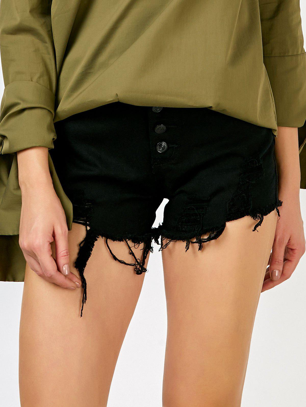 Frayed Button Up High Rise Shorts - BLACK S