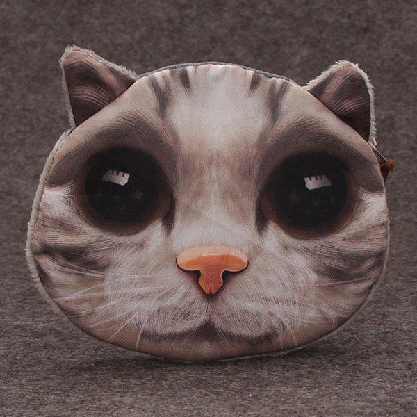 3D Cat Painted Funny Coin Purse - GRAY