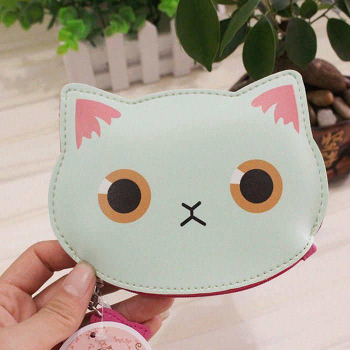 Cartoon Cat Faux Leather Coin Purse - CLOVER