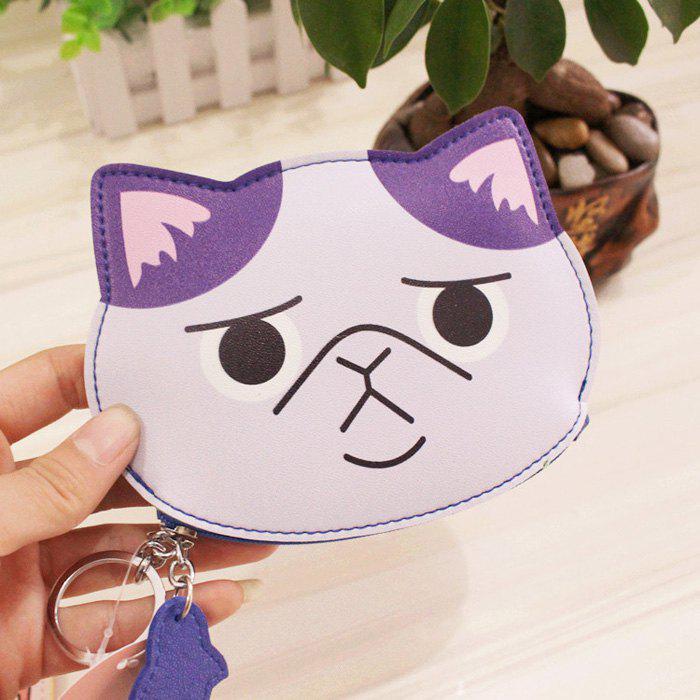 Cartoon Cat Faux Leather Coin Purse - SUEDE ROSE