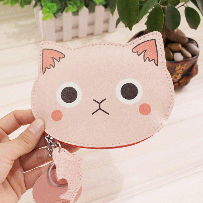 Porte-monnaie Cartoon Cat Faux cuir - Rose Clair