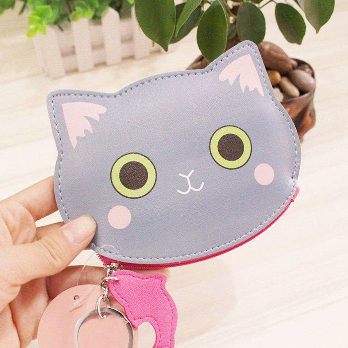 Cartoon Cat Faux Leather Coin Purse - BLUE GRAY