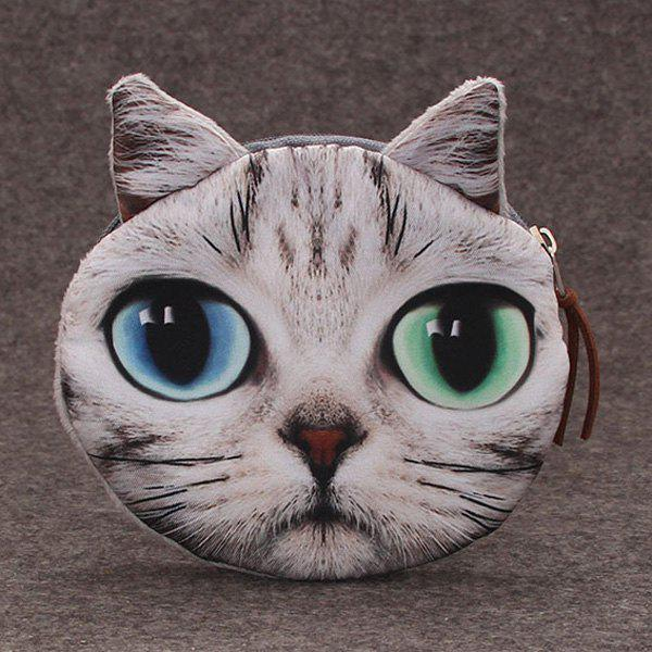 Cat 3D Painted  Coin Purse - GREY WHITE