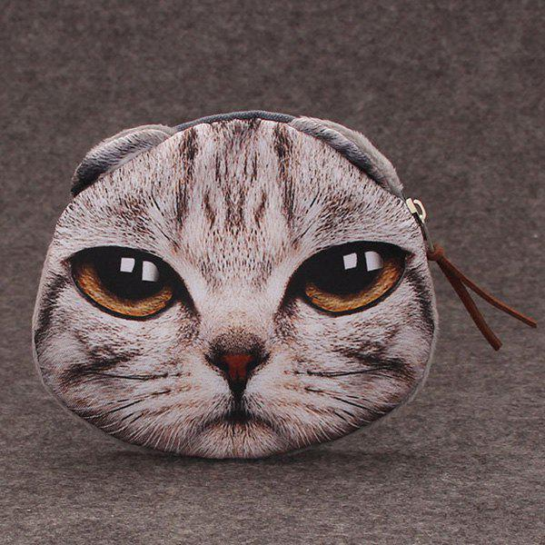 Funny 3D Cat Printed Coin Purse - GRAY
