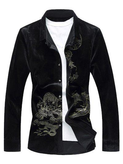 Long Sleeve Dragon Print Velvet Shirt - BLACK 5XL