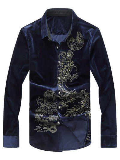 Long Sleeve Dragon Print Velvet Shirt - CADETBLUE 3XL