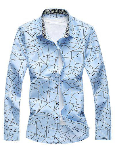 Geometrical Print Long Sleeve Shirt - BLUE 4XL