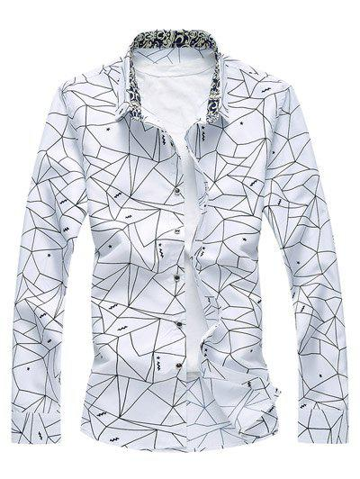 Geometrical Print Long Sleeve Shirt - WHITE 5XL