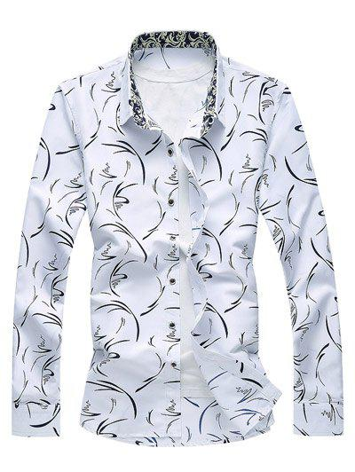 Scattered Printed Button Up Shirt - WHITE 2XL