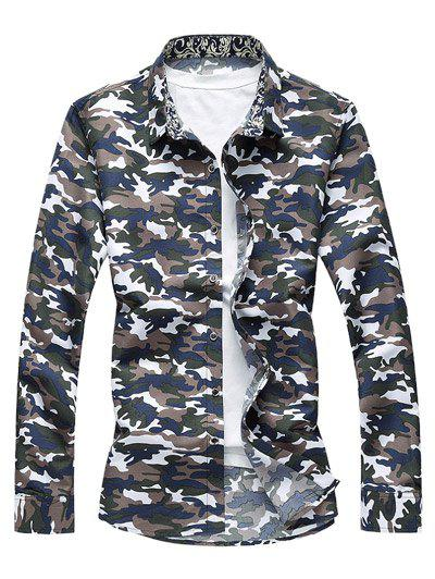 Camo Long Sleeve Shirt - ARMY GREEN L