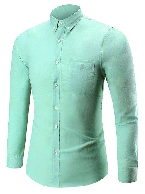 Button Down Long Sleeve Pocket Shirt - GREEN XL