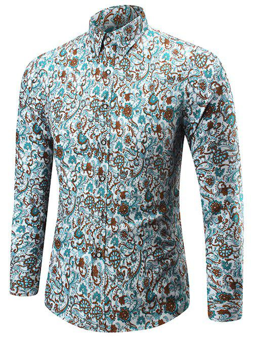 2018 button up floral print shirt colormix xl in shirts for Floral print button up shirt