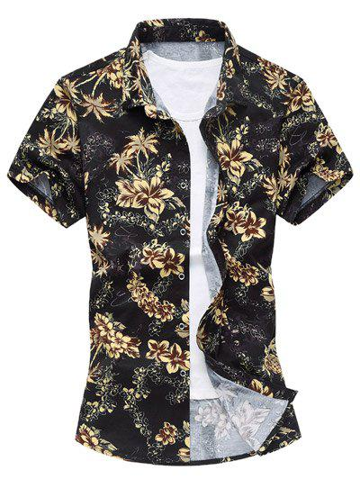 Short Sleeve Flowers Hawaiian Shirt - YELLOW 3XL