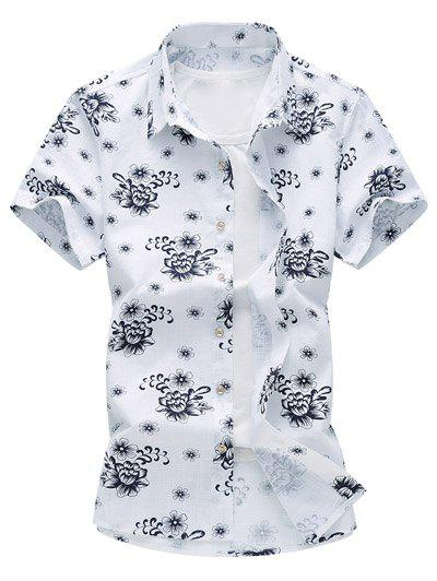 Flower Printed Short Sleeve Hawaiian Shirt - PURPLISH BLUE 2XL