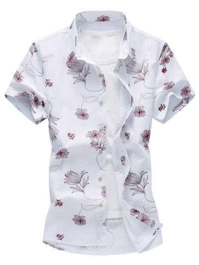 Flower Print Hawaiian Shirt - RED 3XL