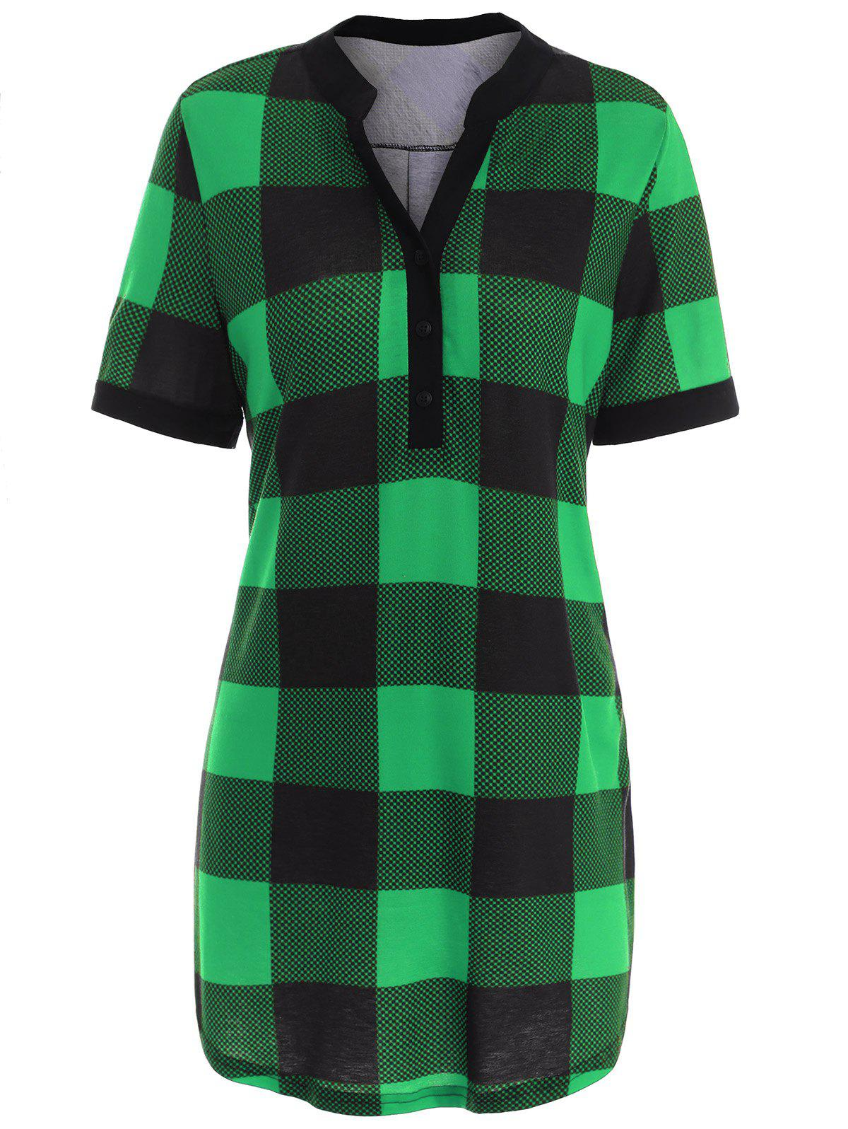 Plaid Plus Size Tunic Top plaid trim tunic top