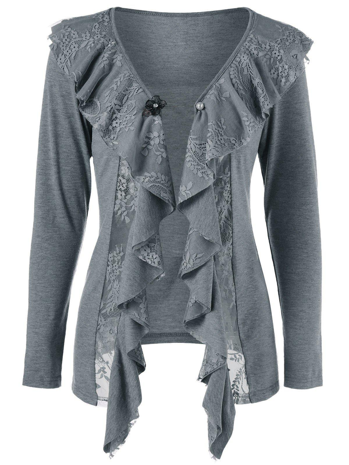 Lace Insert Cardigan with Brooch, GRAY, XL in Sweaters & Cardigans ...