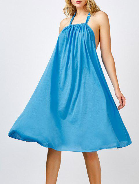 c685b647d9c9 Sleeveless Long Shift Halter Low Back Knee Length Summer Dress - LAKE BLUE L