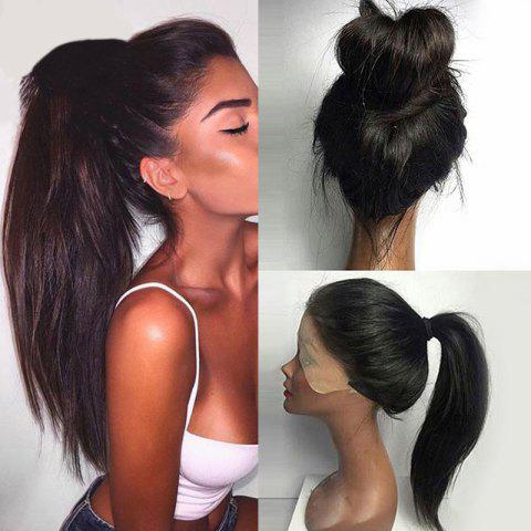Long Straight Ponytails Lace Front Synthetic Wig - BLACK