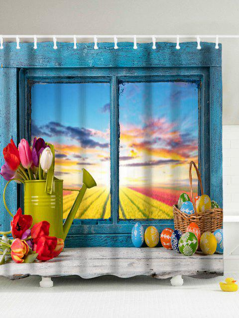 Easter Mildew Resistant Polyester Fabric Shower Curtain - LAKE BLUE 180*180CM