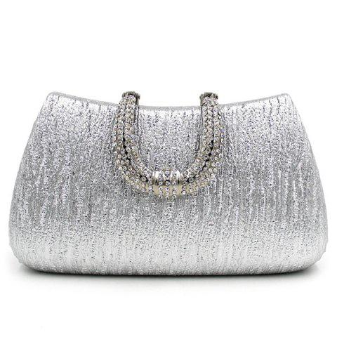 Rhinestone PU Leather Evening Clutch Bag - SILVER