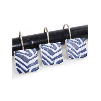 12Pcs/Set Resin Bath Shower Curtain Hooks - BLUE AND WHITE BLUE/WHITE