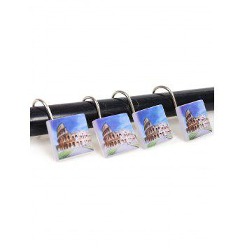 12Pcs Ancient City Printed Shower Curtain Hooks - BLUE AND YELLOW BLUE/YELLOW