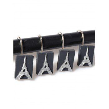 12Pcs Tower Pattern Shower Curtain Hooks - SILVER AND BLACK SILVER/BLACK