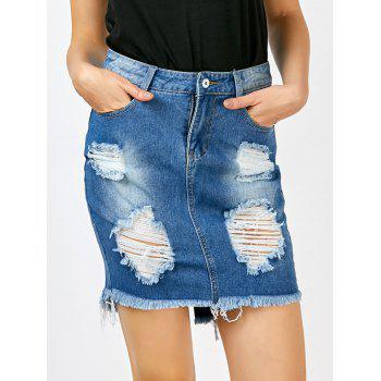 Fringed Denim Broken Hole Skirt With Pockets