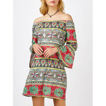 Printed Mini Shift Off The Shoulder Dress