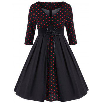 Retro Polka Dot Lace Up Dress